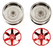 Disky Tamiya 6-spoke chr./red 26mm Off+2 1/10 2 ks  300054551