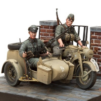 Zündapp KS-750/1 Motorcycle with Sidecar & 2 Troopers 1/16 stavebnica