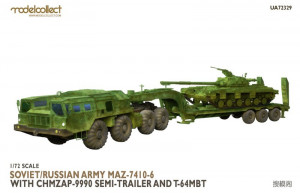 MAZ-7410-6 w. ChMZAP-9990 semi-trailer and T-64 MBT 1/72