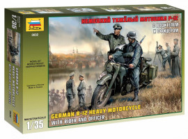 German R-12 heavy motocycle with rider and officer 1/35